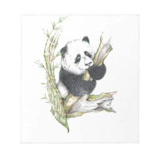 Panda Bear cute pencil drawing bamboo Notepad