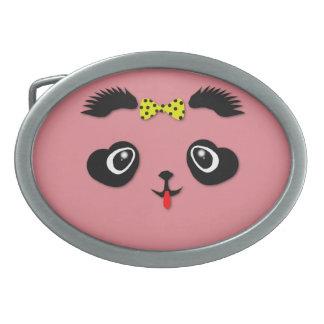 Panda Bear Cutie Oval Belt Buckle