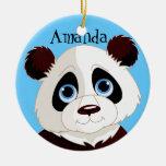 Panda Bear  Design Ornament Round Ceramic Ornament