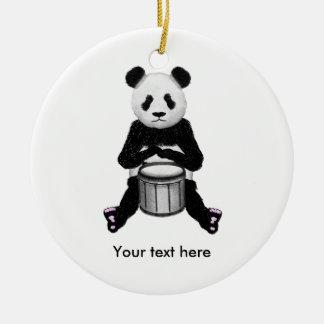 Panda Bear Drum Illustration Ceramic Ornament