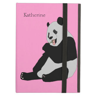 Panda Bear Eating Bamboo Optional Custom Name iPad Air Cases