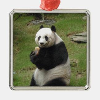 Panda Bear eating some bamboo Square Metal Christmas Ornament