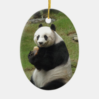 Panda Bear eating some bamboo Double-Sided Oval Ceramic Christmas Ornament