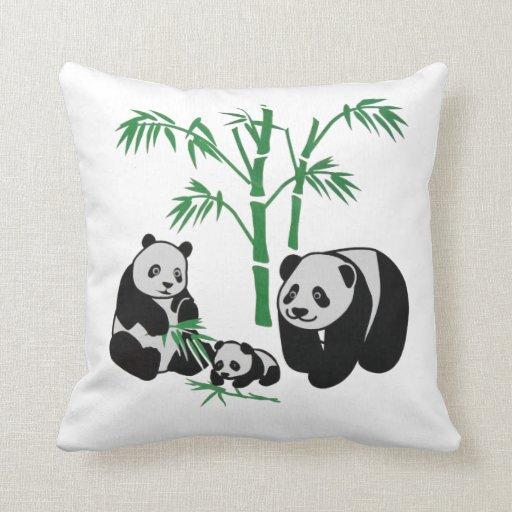 Panda Bear Family Throw Pillow Zazzle