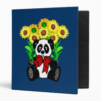Panda Bear Flowers 3 Ring Binder