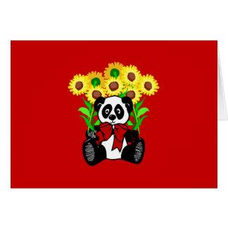 Panda Bear Flowers Card