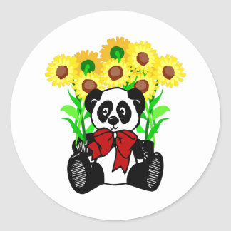 Panda Bear Flowers Classic Round Sticker