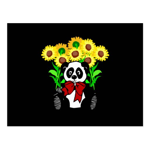 Panda Bear Flowers Postcard