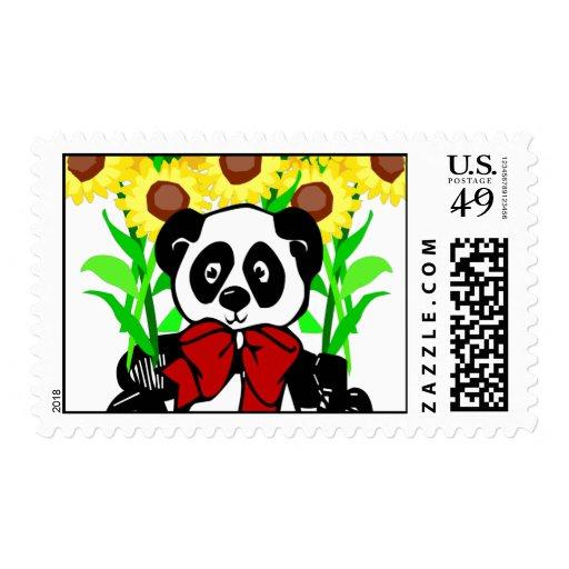 Panda Bear Flowers Stamps