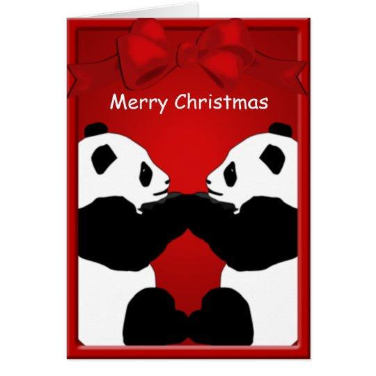 Panda Bear Friends Merry Christmas Greeting Card