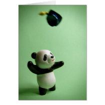 Panda Bear Graduation Cap Throw Card