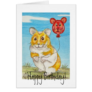 Panda Bear Hamster with Red Balloon Greeting Card