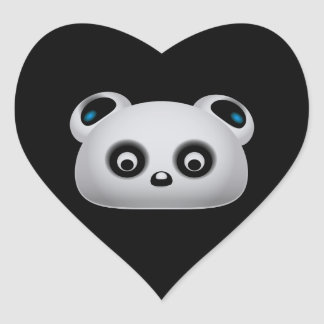 Panda bear heart sticker