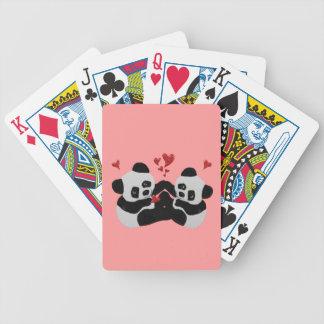 Panda Bear Hearts Bicycle Playing Cards