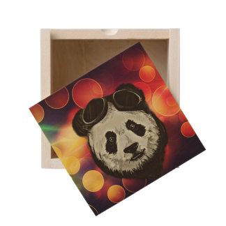 Panda Bear Hipster Style Wooden Keepsake Box
