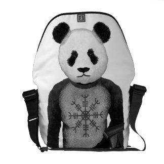 Panda Bear Holding Thor's Viking Hammer Courier Bag