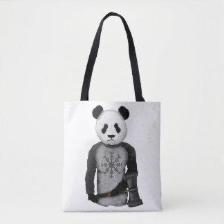 Panda Bear Holding Thor's Viking Hammer Tote Bag