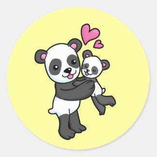 Panda Bear hugging baby bear Classic Round Sticker