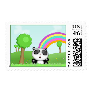 Panda Bear in Colourful Fields Stamps
