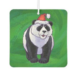 Panda Bear in Santa Hat on Green