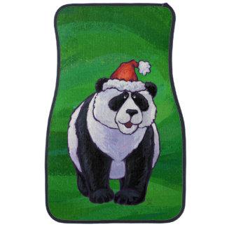 Panda Bear in Santa Hat on Green Floor Mat