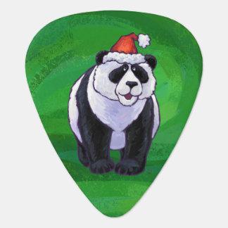 Panda Bear in Santa Hat on Green Guitar Pick
