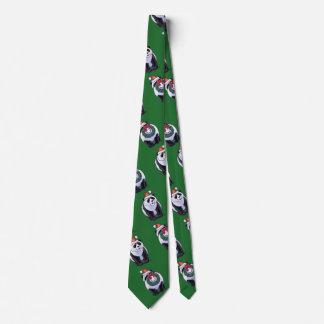 Panda Bear in Santa Hat on Green Tie