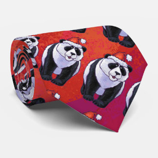 Panda Bear in Santa Hat On Red Tie