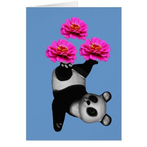 Panda Bear Juggling Pink Zinnias Animal Card