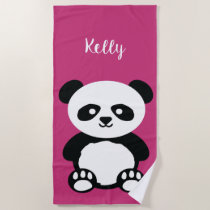 Panda Bear Kawaii Personalized Kids Bright Pink Beach Towel