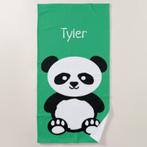 Panda Bear Kawaii Personalized Kids Green Beach Towel