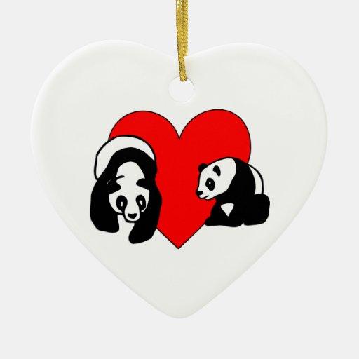 Panda Bear Love Ceramic Ornament