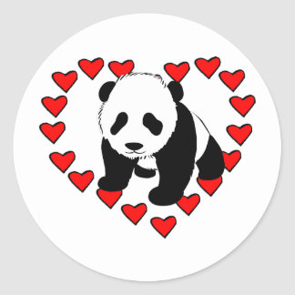 Panda Bear Love Classic Round Sticker