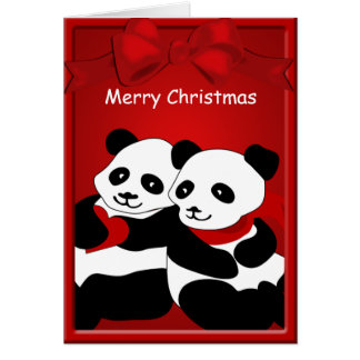 Panda Bear Love Couple Merry Christmas Greeting Card