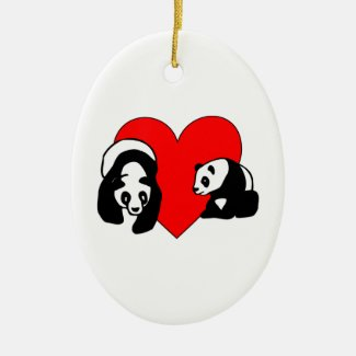 Panda Bear Love Ornaments, Gifts and Jewelry