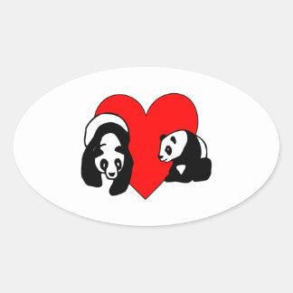Panda Bear Love Oval Sticker