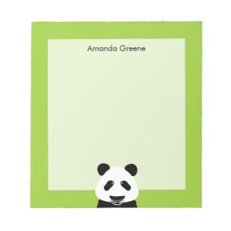Panda Bear Modern Green Personalized Notepad