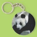 Panda Bear on Rocks Keychain