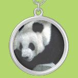 Panda Bear on Rocks Round Pendant Necklace