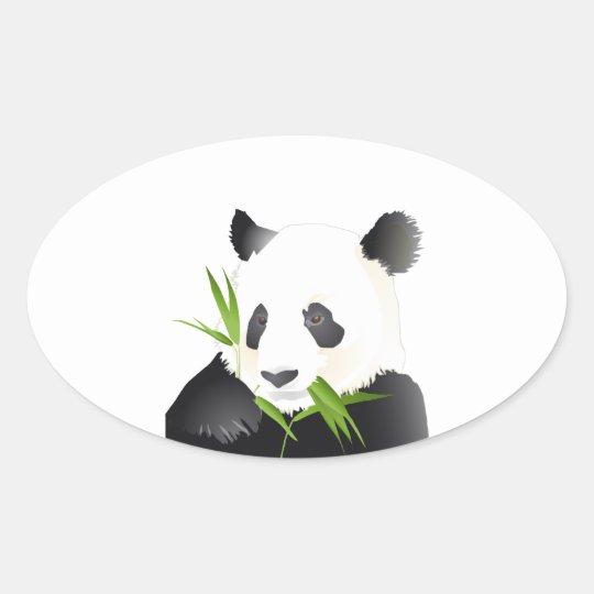 Panda Bear Oval Sticker