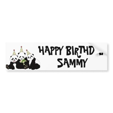 birthday Panda Bear Party by Kindred Design Bumper Sticker