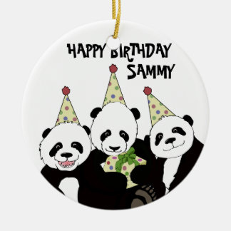 Panda Bear Party by Kindred Design Ceramic Ornament