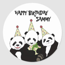 Panda Bear Party by Kindred Design Classic Round Sticker