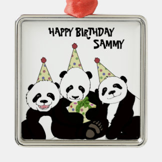 Panda Bear Party by Kindred Design Metal Ornament