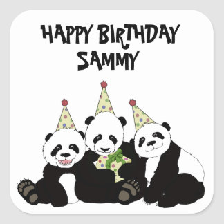 Panda Bear Party by Kindred Design Square Sticker