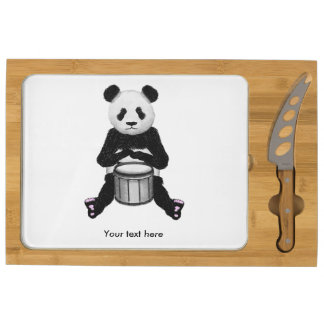 Panda Bear Playing The Drums Cheese Board