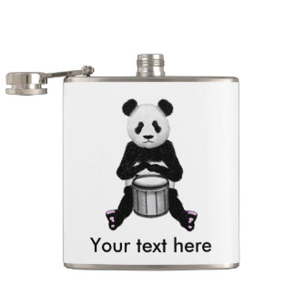 Panda Bear Playing The Drums Hip Flask