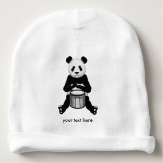 Panda Bear Playing The Drums Illustration Baby Beanie