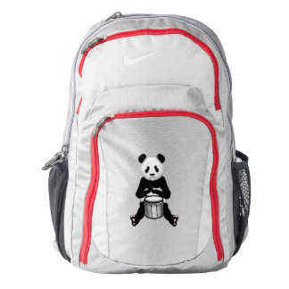 Panda Bear Playing The Drums Illustration Nike Backpack