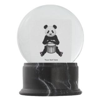 Panda Bear Playing The Drums Illustration Snow Globe
